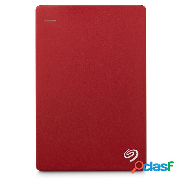 Disco duro externo seagate backup plus slim portátil 2.5'', 1tb, usb 3.0, rojo - para mac/pc