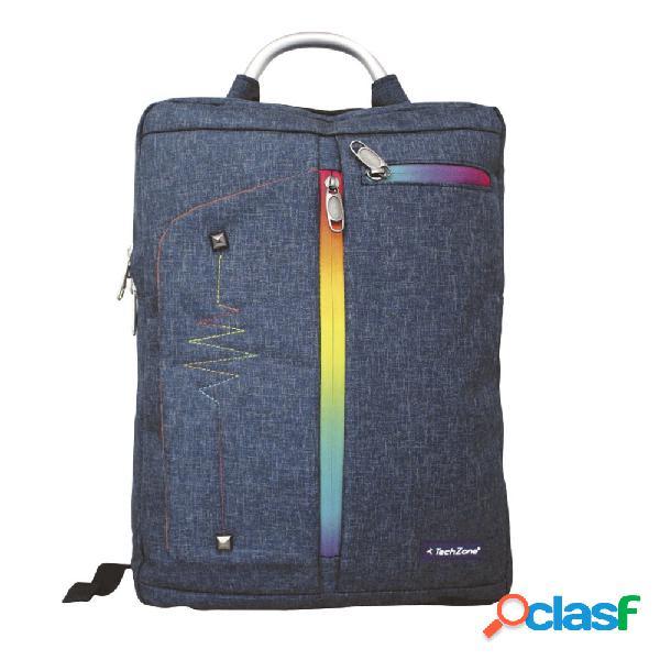"""Techzone mochila de poliéster tzlbp01 para laptop 15.6"""", azul"""