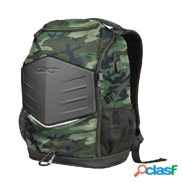 """Trust mochila de poliéster gxt 1255 outlaw para laptop 15.6"""", verde/negro"""