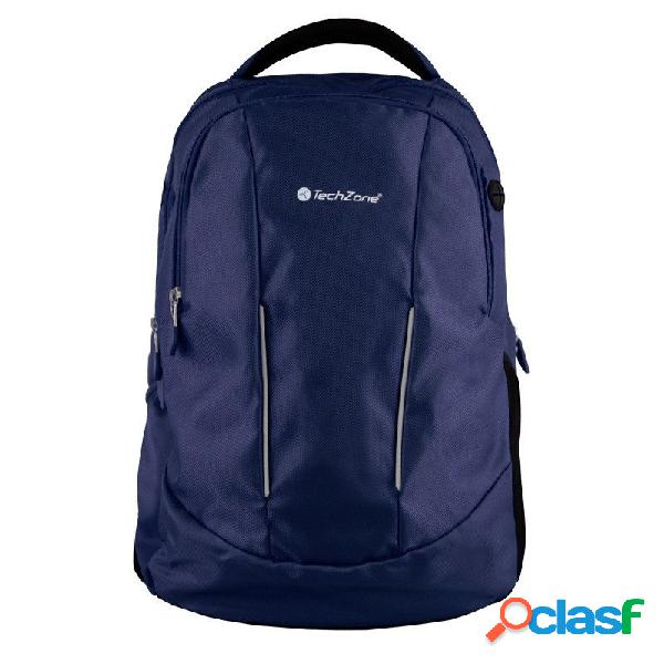 Techzone mochila de poliéster tz17lbp02-azul para laptop 15.6'', negro/azul
