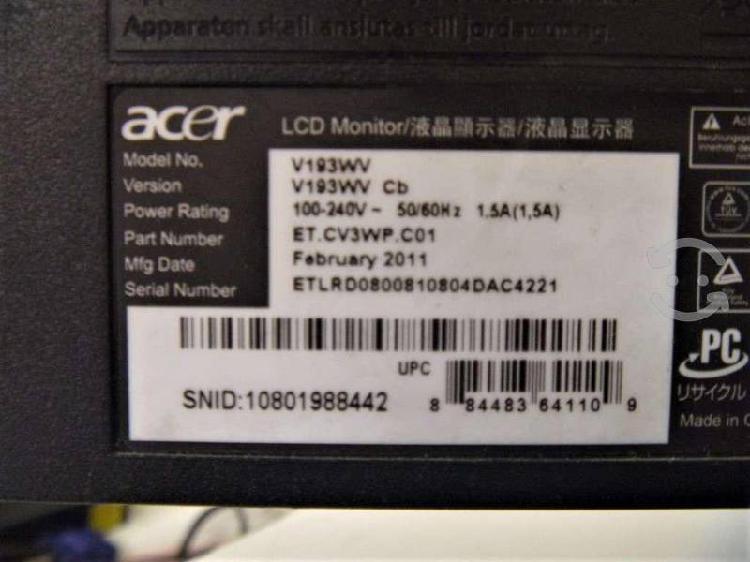 """Monitor acer 19"""" detalle (pantalla blanca)"""