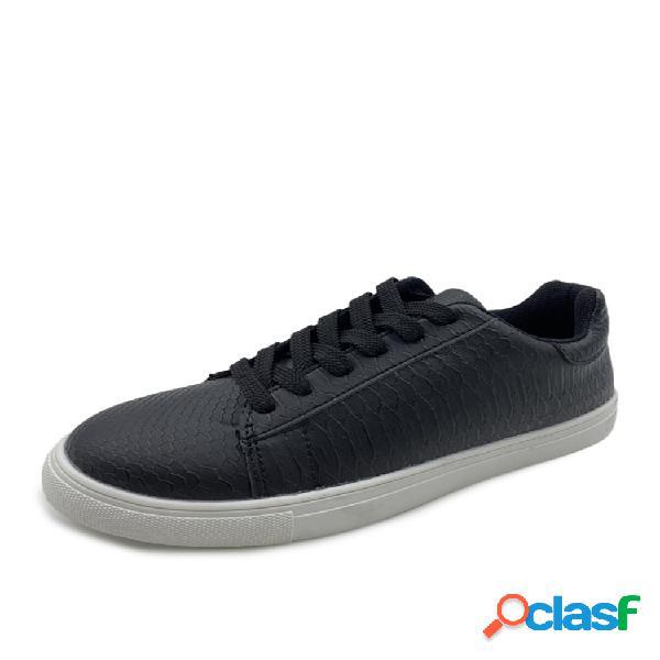 Zapatillas de deporte planas para correr de gran tamaño mujer, casual, de corte ancho, con cordones, venas delanteras