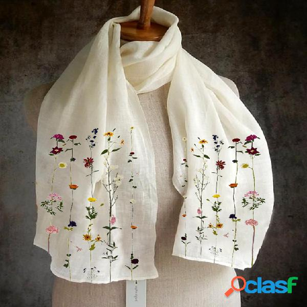Mujer color sólido impresión patrón lino bufanda larga mantón multiusos elegante cuello abrigo