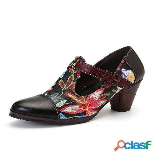 Socofy folkways colorful costura de flores piel genuina correa en t retro vestido zapatos de salón para mujer