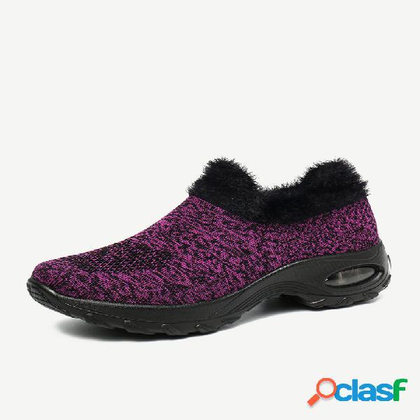 Gran tamaño mujer invierno al aire libre zapatillas de plataforma con cordones de felpa cálida de malla