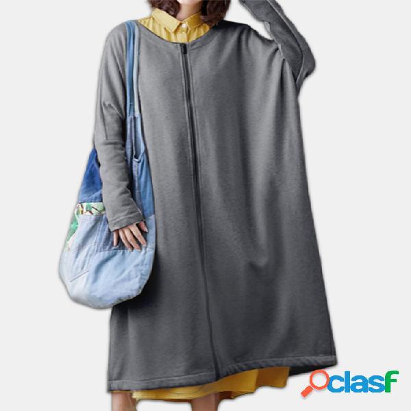 Cremallera color sólido manga larga plus tamaño abrigo largo fino