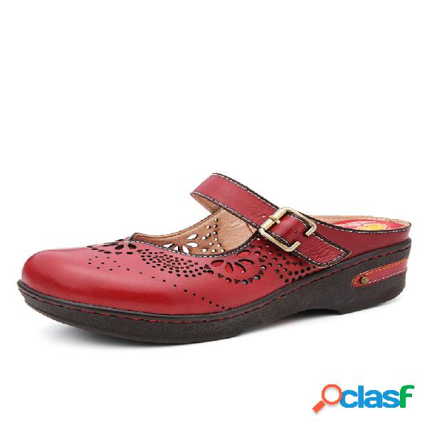 Socofy mulas antideslizantes planas antideslizantes con hebilla y hebilla con recortes de cuero hechos a mano sandalias