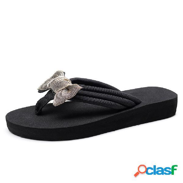 Mujer bowknot decor comfy soft chanclas de plataforma plana zapatillas