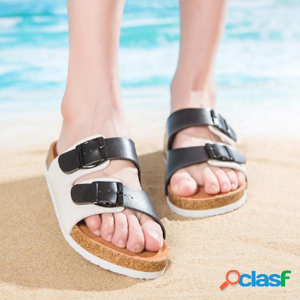 Mujer casual playa hebilla de doble correa punta abierta soft zapatillas