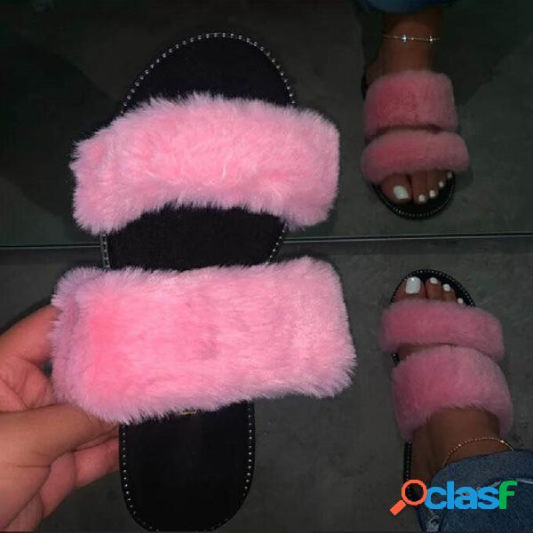 Plus tamaño mujer doble banda soft plush forro polar casual zapatillas