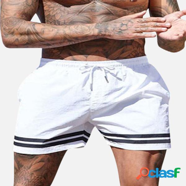 Pantalones cortos para hombre playa sports running impermeable bañadores con cordón de rayas de color sólido de moda