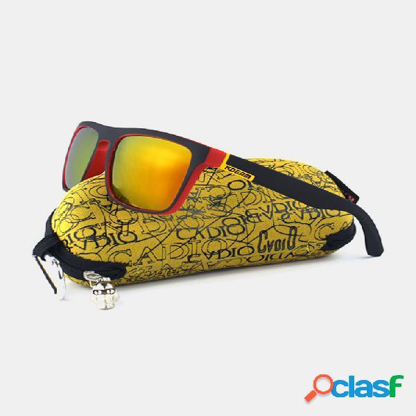 Hombre Colorful Gafas de sol polarizadas con montura cuadrada al aire libre Conducción deportiva UV400 Gafas