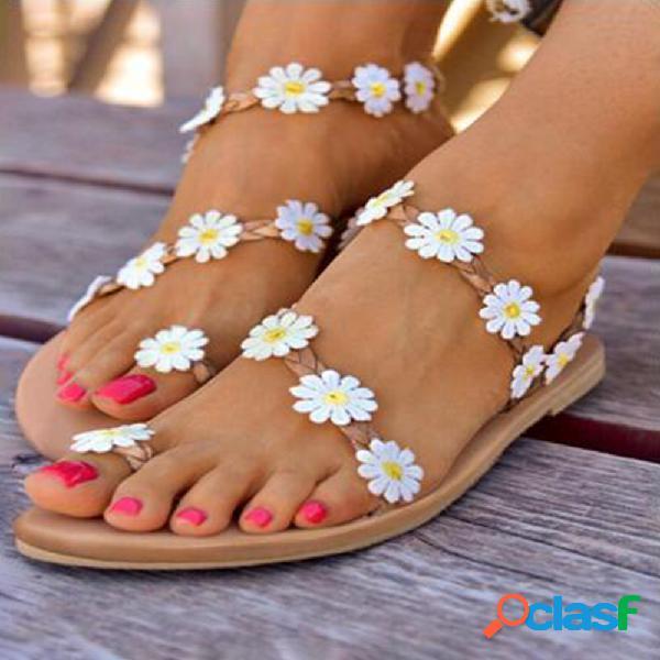 Mujer correa trenzada flores decoración cómoda pinza playa sandalias