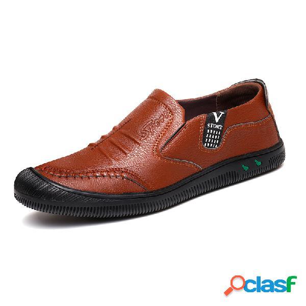 Hombres pu cuero antideslizante anticolisión soft suela zapatos casuales