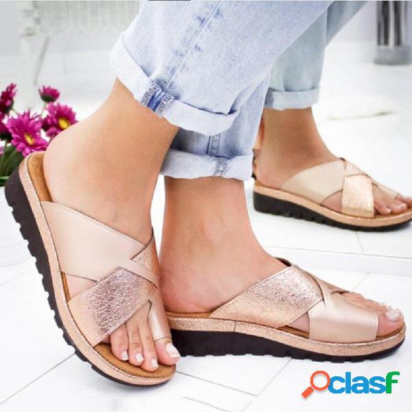 Plus tamaño mujer cuñas de diapositivas cruzadas diarias con punta abierta sandalias