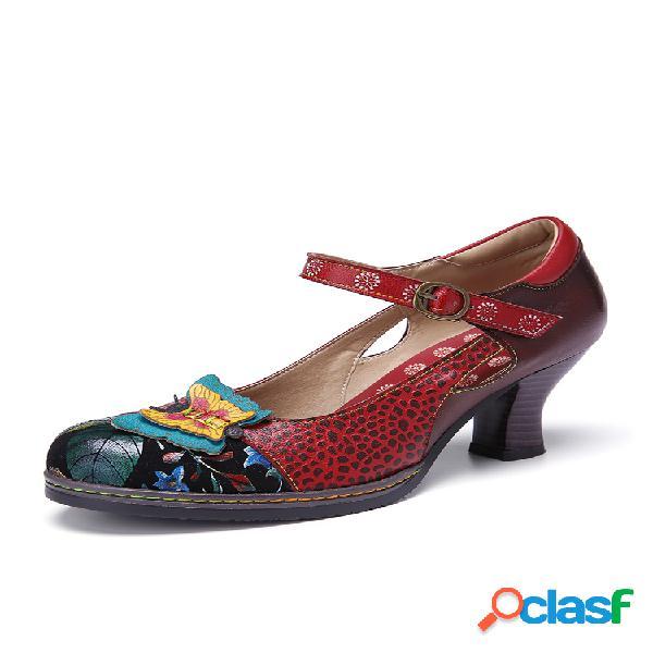 Socofy vendimia zapatos de tacón grueso con hebilla y hebilla de empalme de mariposa en cuero