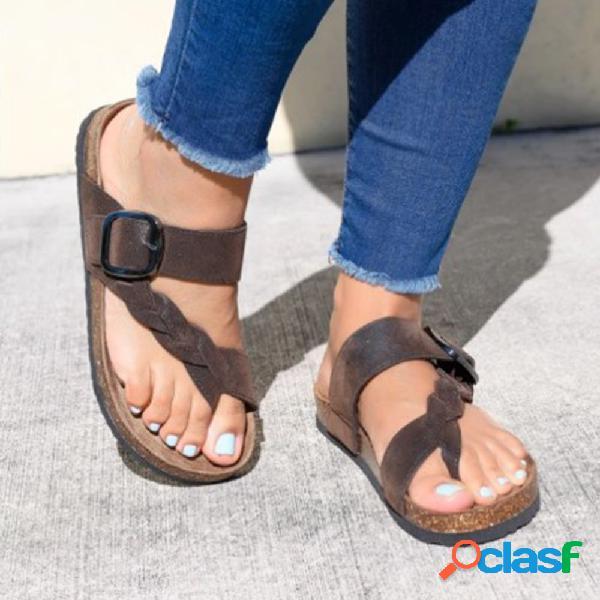 Tamaño grande mujer retro playa clip toe slip on flat zapatillas