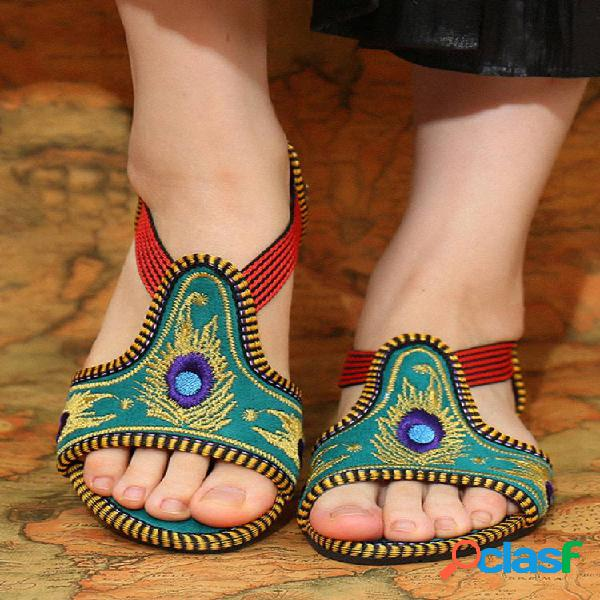 Elástico banda peep toe bordado a mano ahuecado plano sandalias