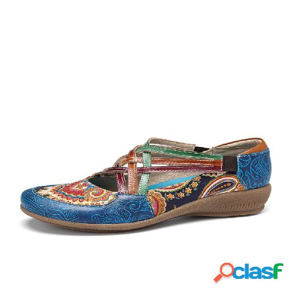Socofy vendimia zapatos casuales de cuña con correa elástica de cuero con empalme en contraste de paisley