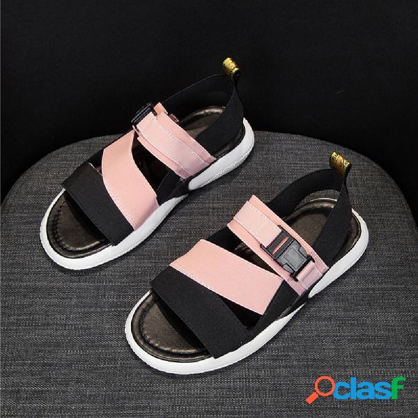Mujer usable elástico banda bloque de color casual plano sandalias