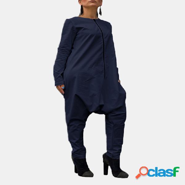 Color sólido cremallera manga larga o-cuello casual harem pantalones mono