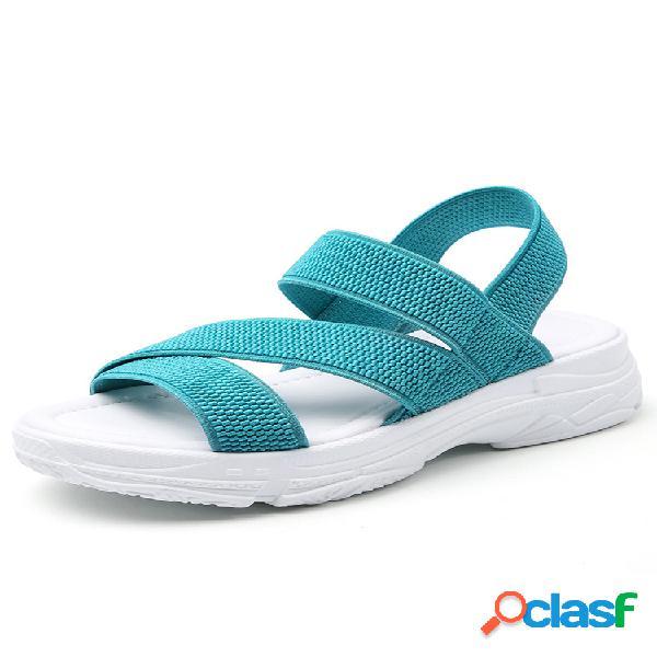 Tallas grandes mujer sencillo color sólido elástico banda vestible informal sandalias