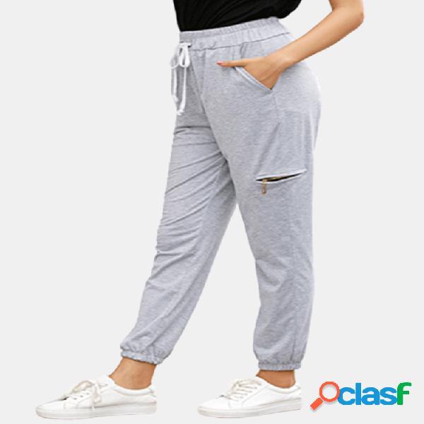 Color sólido cremallera delantera casual cintura elástica deporte pantalones