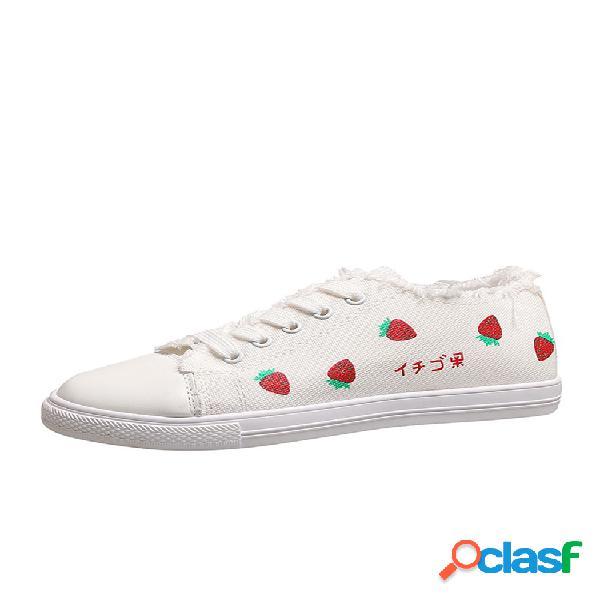Mujer fruta patrón tela antideslizante soft zapatillas de lona con suela plana y patines