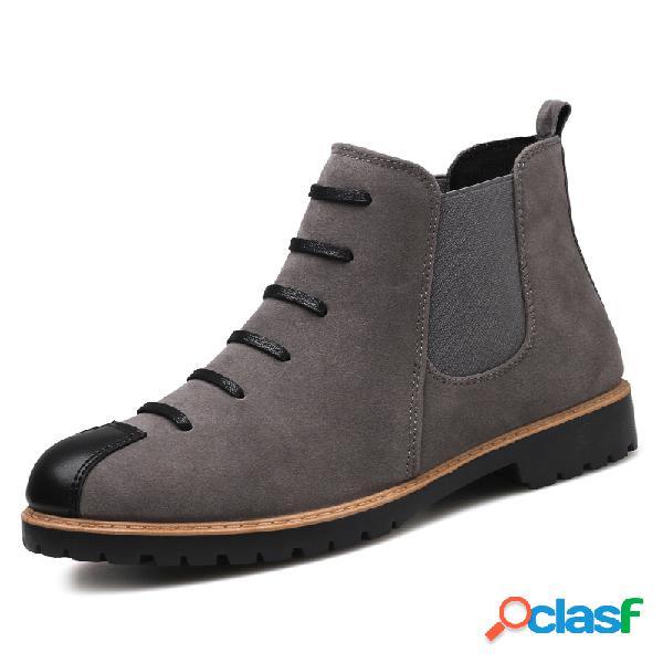 Hombres británicos con estilo casquillo del dedo del pie resbalón en el tobillo informal chelsea botas