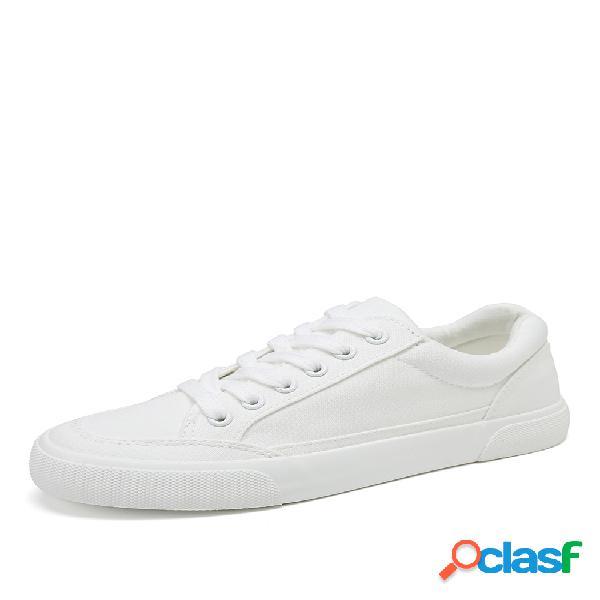 Mujer zapatos blancos cómodos zapatillas deportivas de corte plano con cordones en la parte delantera