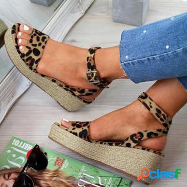 Alpargata de gran tamaño mujer con punta abierta, hebilla de leopardo, alpargata, cuñas sandalias