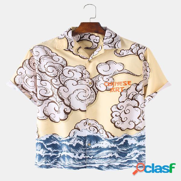 Camisas de manga corta sueltas y transpirables navideñas para hombre playa con estampado de nubes y mar