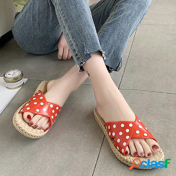 Mujer casual soft diapositiva decorativa de puntos plana zapatillas