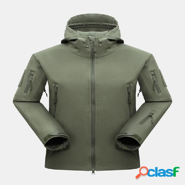 Color sólido para hombre impermeable chaquetas con capucha cálidas con cuello alto y bolsillo con cremallera transpirable