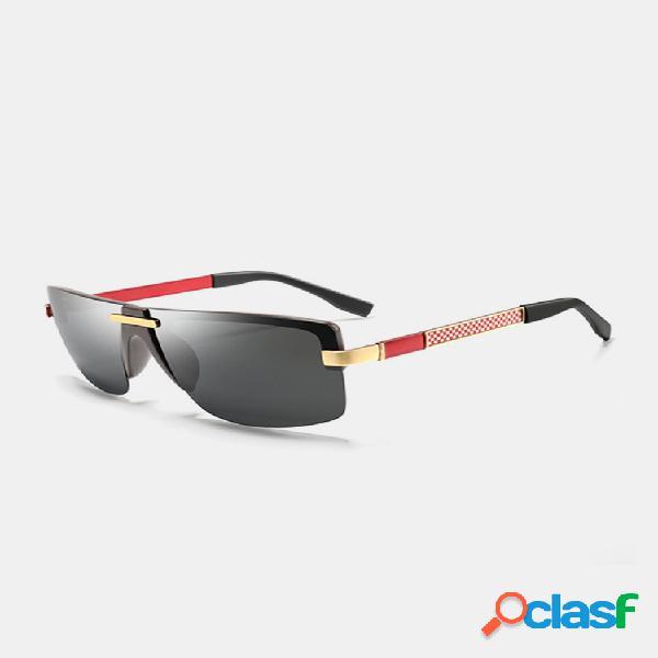 Hombre classic marco de metal hd grande lente gafas de sol polarizadas informales de visión amplia