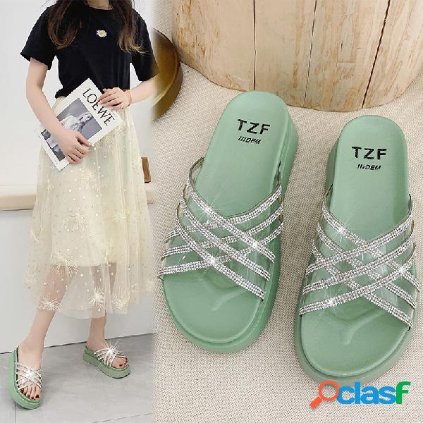 Cruz decorativa con diamantes de imitación para mujer banda plataforma antideslizante zapatillas