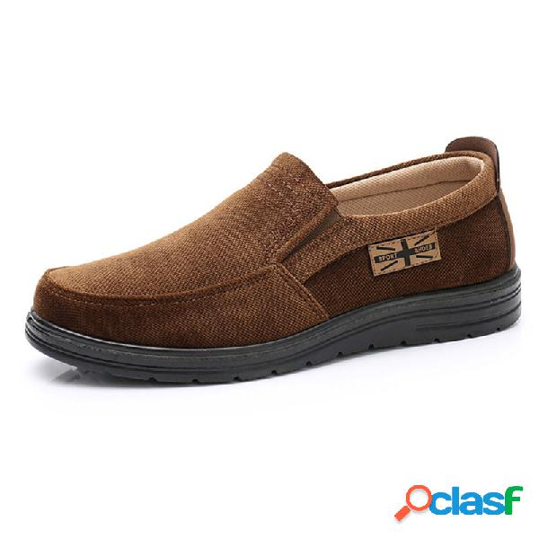 Hombres old peking style paño comfort soft slip on casual shoes