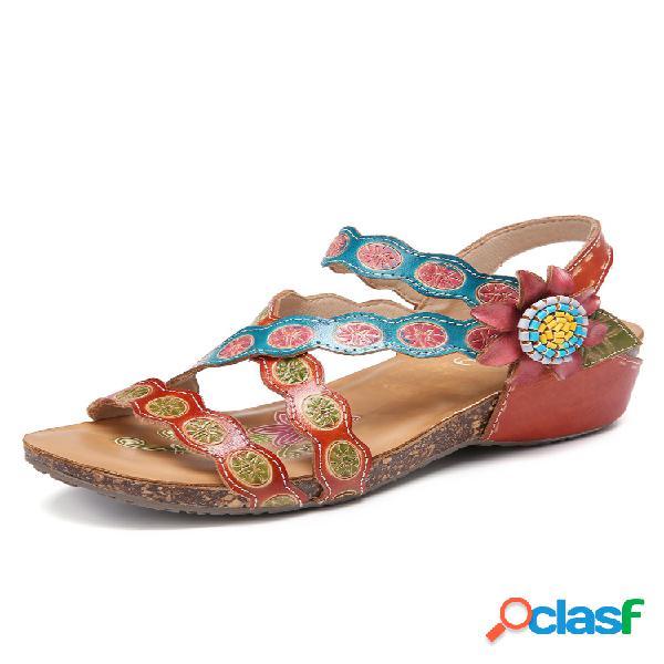 Socofy cuero hecho a mano floral gancho cuña de costura con correa de tobillo de lazo sandalias