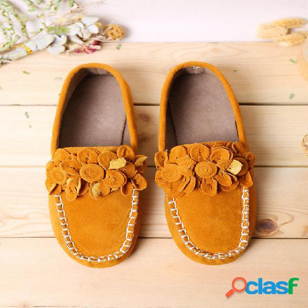 Tamaño grande mujer mocasines con decoración de flores zapatos planos bajos sin cordones de color sólido