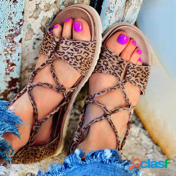 Gran tamaño mujer retro leopard open toe strappy zipper flat sandalias
