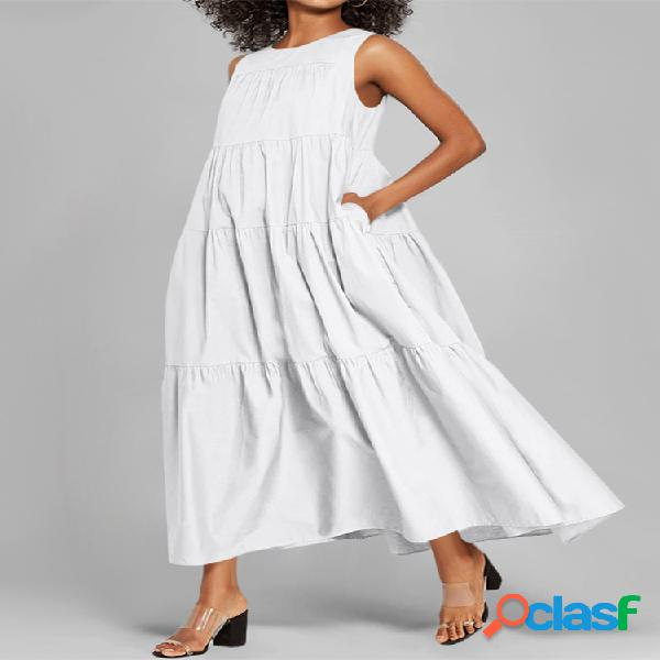 Mujer color sólido sin mangas casual vestido