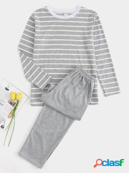Conjuntos de pijama de cuello redondo con rayas grises de Baisc