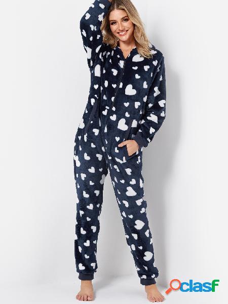 Navy Love Print Front Zip Side bolsillo Fleece con capucha Onesie