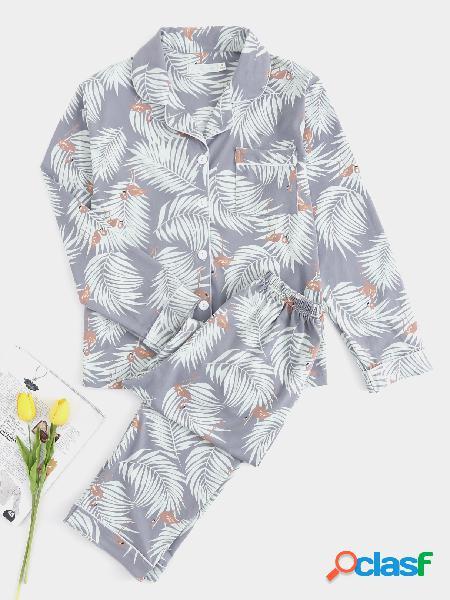 Pijama de manga larga con botones impresos en gris