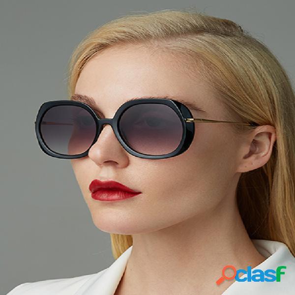 Mujer moda casual clásica montura de metal completa forma redonda uv gafas de sol de protección
