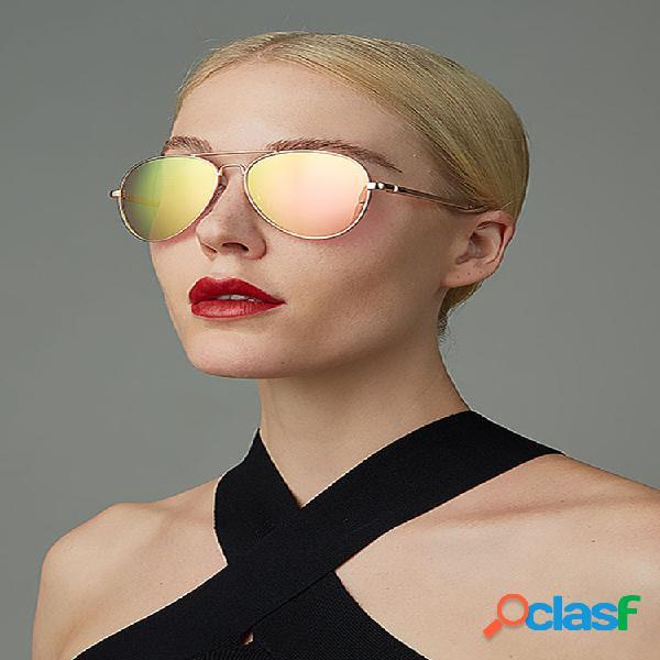 Mujer moda casual plus talla full metal frame uv protección gafas de sol elegantes