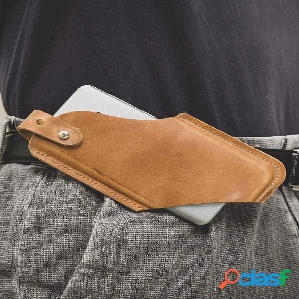 Hombre edc piel genuina ultrafino horizontal tactical 6.5 inch teléfono bolsa cinturón funda