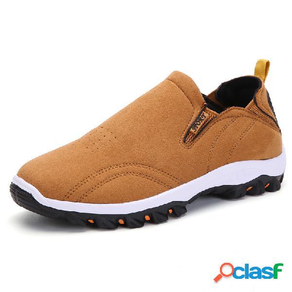Zapatillas deportivas informales cómodas sin cordones de ante sintético para hombre