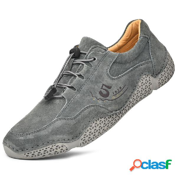 Hombres suede antideslizante elastic banda soft sole casual driving zapatos