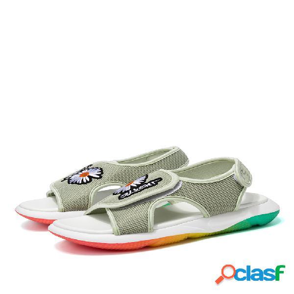 Mujer daisy mesh suela arcoíris transpirable gancho loop sport sandalias